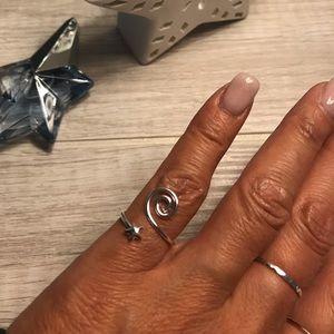 Sterling Silver Star Swirl Wrap Ring